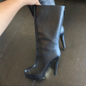 Chanel black heeled boots